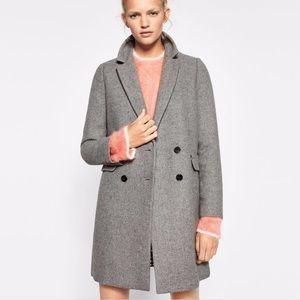 Zara grey double breasted coat size XS